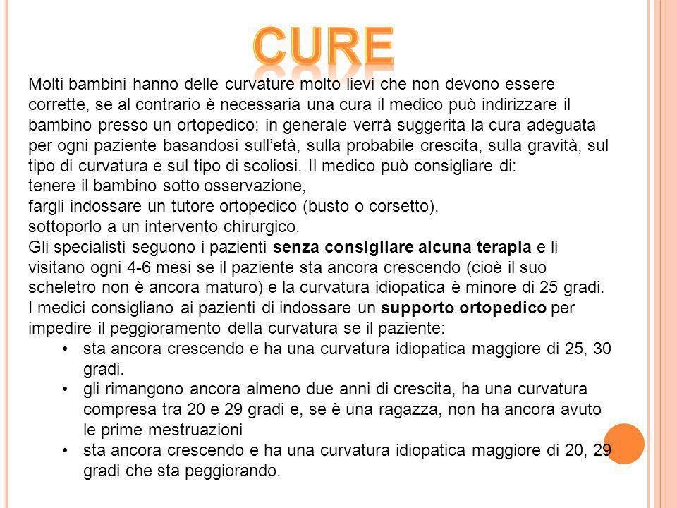 Molti bambini hanno delle curvature molto lievi che non devono essere corrette, se al contrario è necessaria una cura il medico può indirizzare il bam