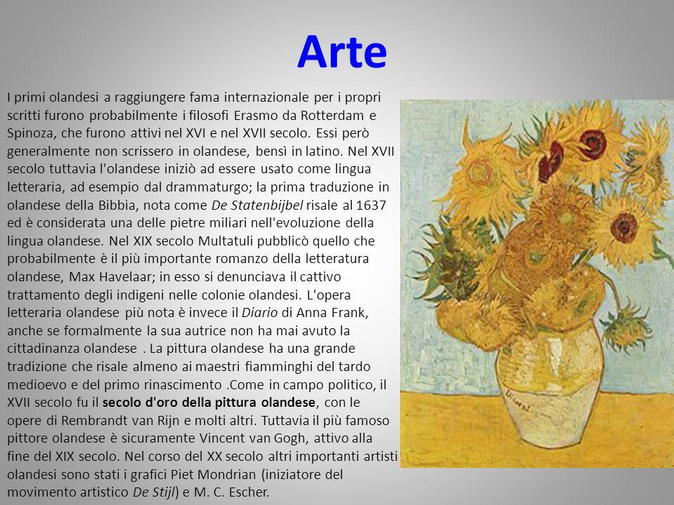 Arte I primi olandesi a raggiungere fama internazionale per i propri scritti furono probabilmente i filosofi Erasmo da Rotterdam e Spinoza, che furono