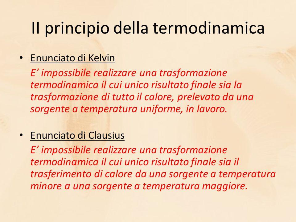 II principio della termodinamica Enunciato di Kelvin E' impossibile realizzare una trasformazione termodinamica il cui unico risultato finale sia la trasformazione di tutto il calore, prelevato da una sorgente a temperatura uniforme, in lavoro.