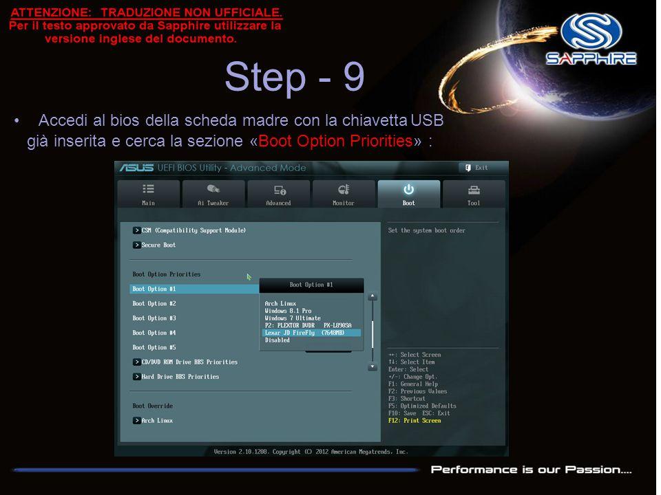 Step - 9 Accedi al bios della scheda madre con la chiavettaUSB già inserita e cerca la sezione «Boot Option Priorities» :
