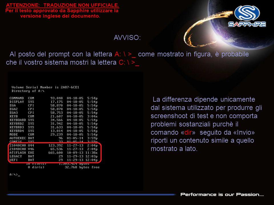 AVVISO: Al posto del prompt con la lettera A: \ >_ come mostrato in figura, è probabile che il vostro sistema mostri la lettera C: \ >_ La differenza