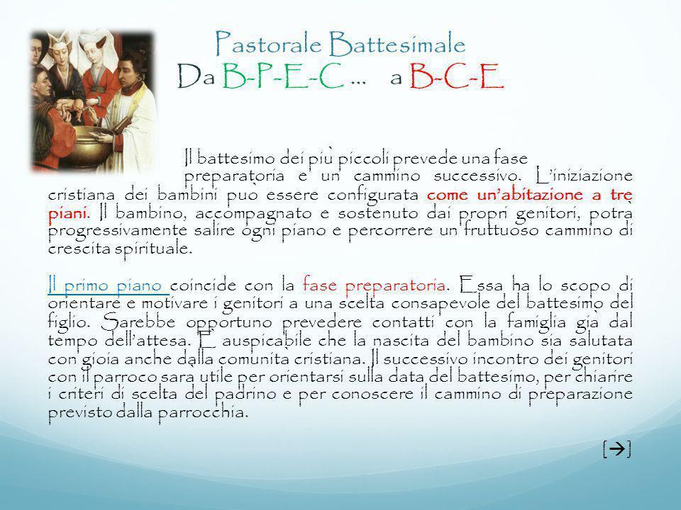 Il battesimo dei piu ̀ piccoli prevede una fase preparatoria e un cammino successivo. L'iniziazione cristiana dei bambini puo ̀ essere configurata com