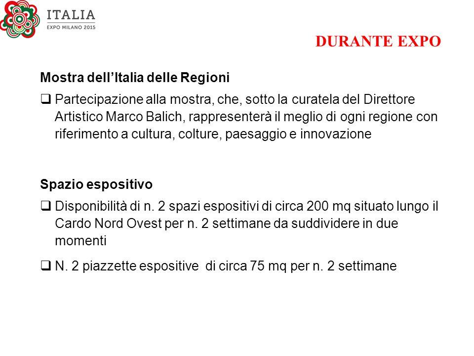 DURANTE EXPO Mostra dell'Italia delle Regioni  Partecipazione alla mostra, che, sotto la curatela del Direttore Artistico Marco Balich, rappresenterà