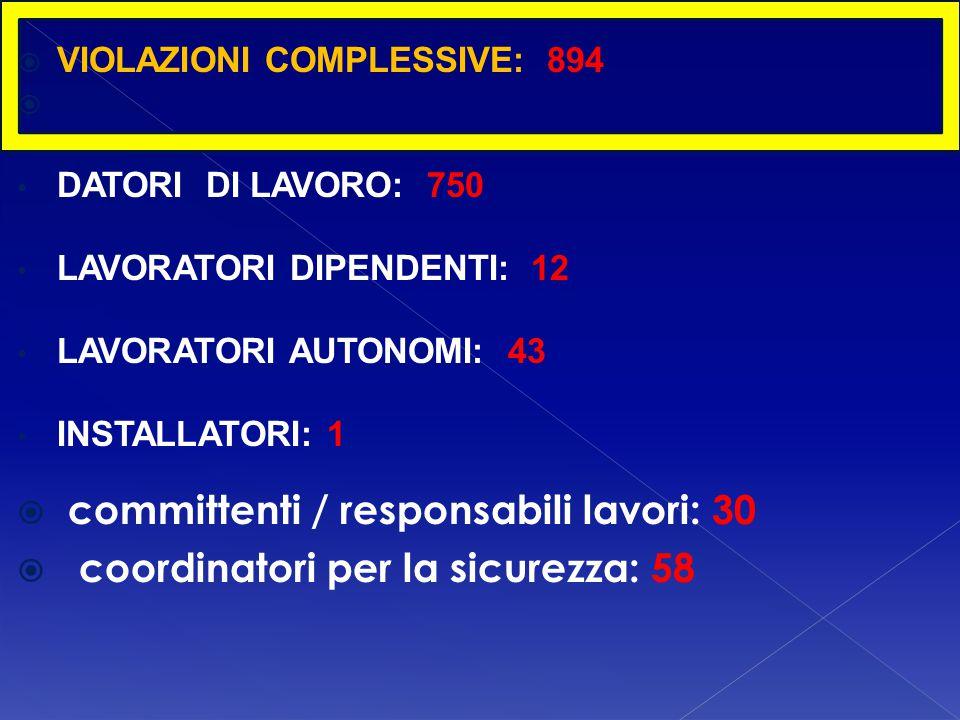  committenti / responsabili lavori: 30  coordinatori per la sicurezza: 58  VIOLAZIONI COMPLESSIVE: 894  DATORI DI LAVORO: 750 LAVORATORI DIPENDENT