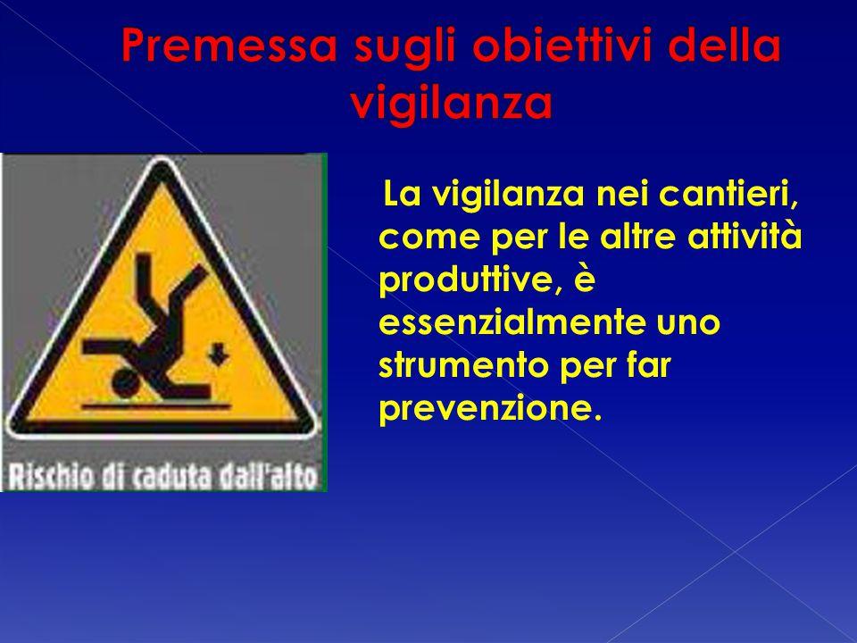 La vigilanza nei cantieri, come per le altre attività produttive, è essenzialmente uno strumento per far prevenzione.