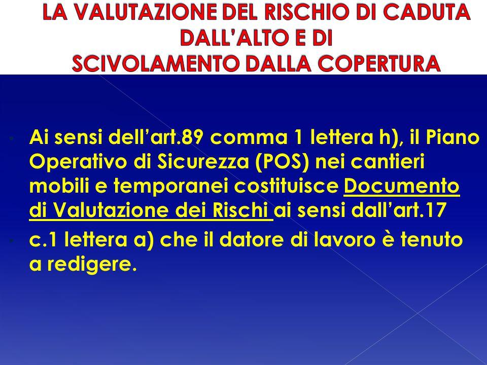 Ai sensi dell'art.89 comma 1 lettera h), il Piano Operativo di Sicurezza (POS) nei cantieri mobili e temporanei costituisce Documento di Valutazione d