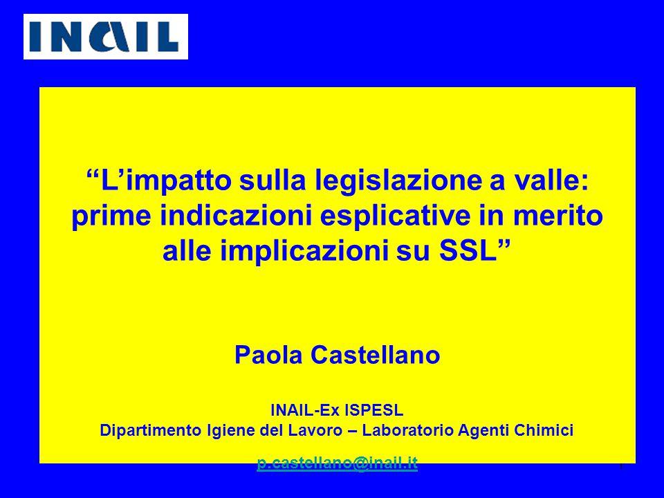 """1 """"L'impatto sulla legislazione a valle: prime indicazioni esplicative in merito alle implicazioni su SSL"""" Paola Castellano INAIL-Ex ISPESL Dipartimen"""