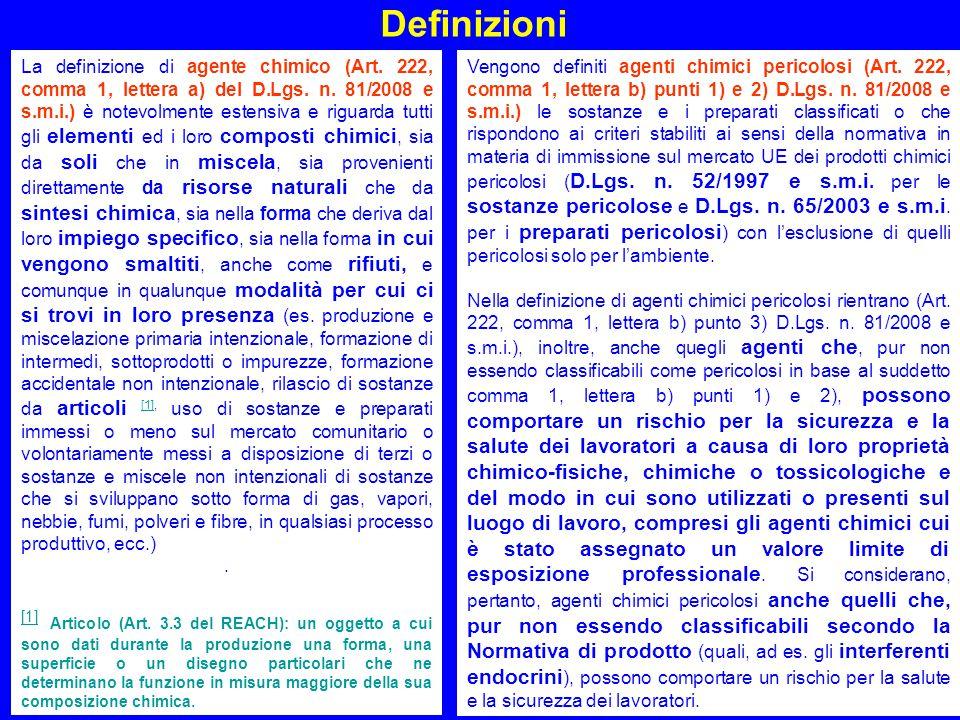 10 Definizioni La definizione di agente chimico (Art. 222, comma 1, lettera a) del D.Lgs. n. 81/2008 e s.m.i.) è notevolmente estensiva e riguarda tut