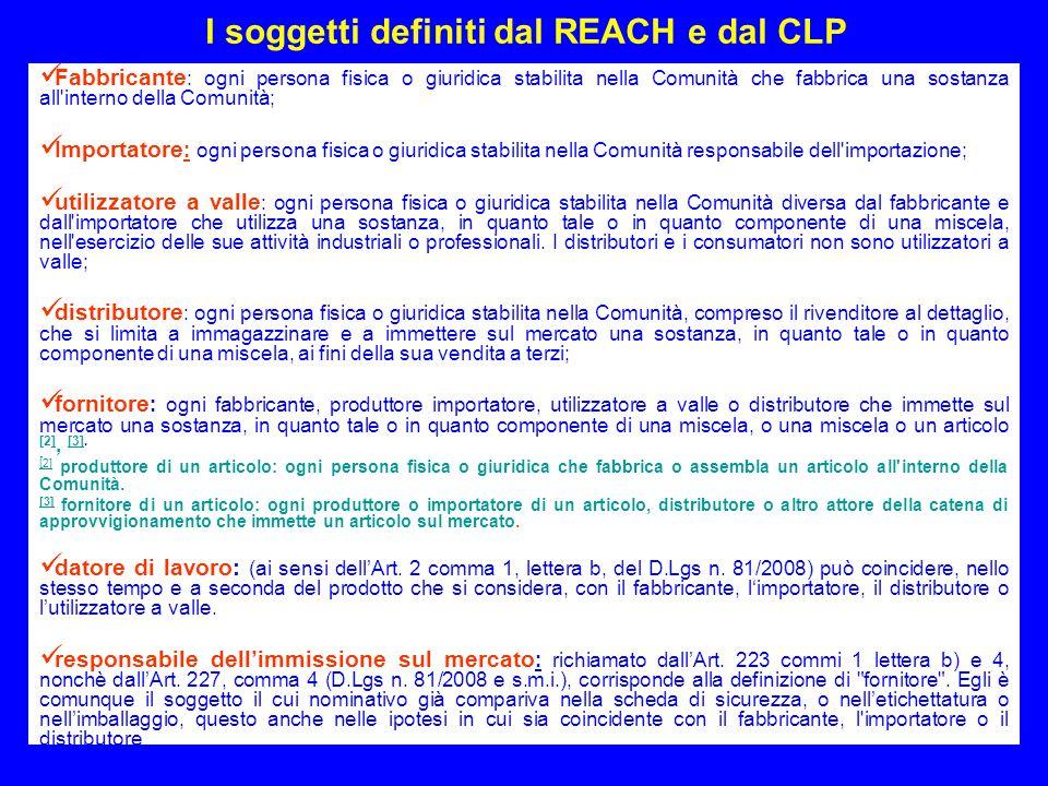 13 I soggetti definiti dal REACH e dal CLP Fabbricante : ogni persona fisica o giuridica stabilita nella Comunità che fabbrica una sostanza all'intern