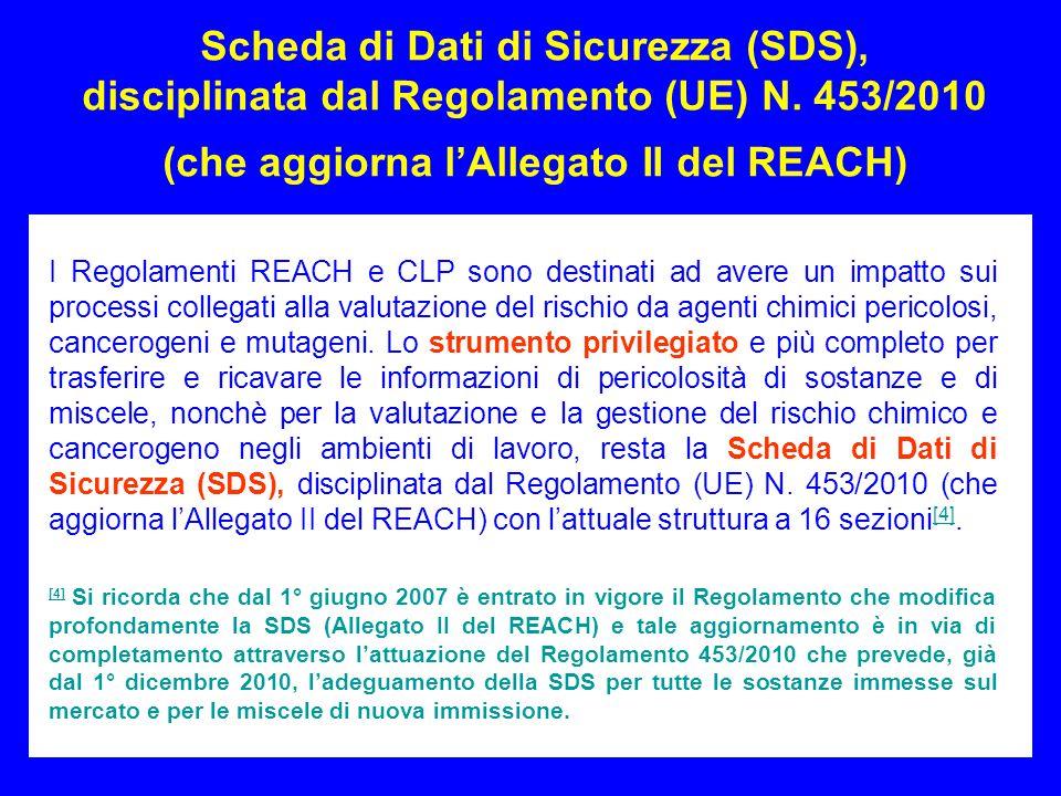 16 Scheda di Dati di Sicurezza (SDS), disciplinata dal Regolamento (UE) N. 453/2010 (che aggiorna l'Allegato II del REACH) I Regolamenti REACH e CLP s