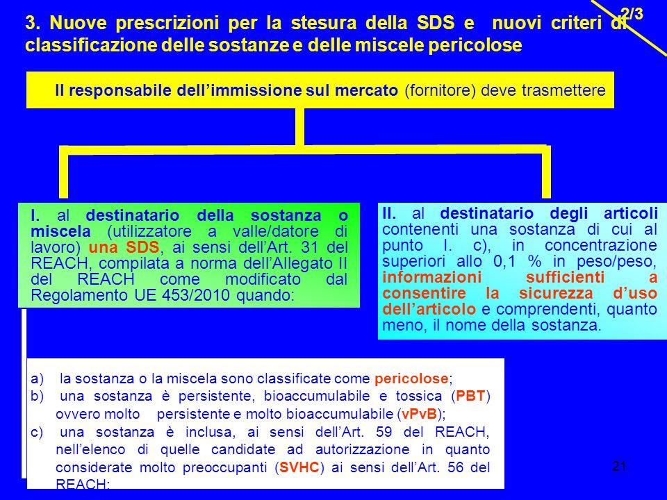 21 3. Nuove prescrizioni per la stesura della SDS e nuovi criteri di classificazione delle sostanze e delle miscele pericolose 2/3 Il responsabile del