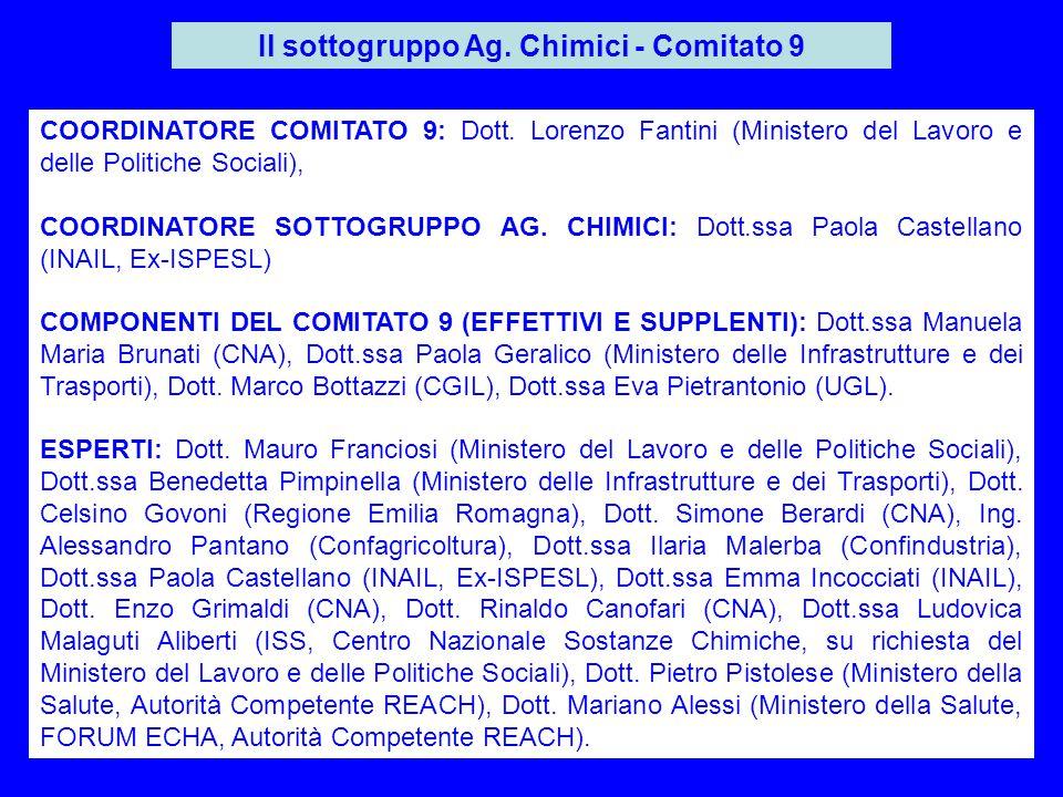 6 Il sottogruppo Ag. Chimici - Comitato 9 COORDINATORE COMITATO 9: Dott. Lorenzo Fantini (Ministero del Lavoro e delle Politiche Sociali), COORDINATOR