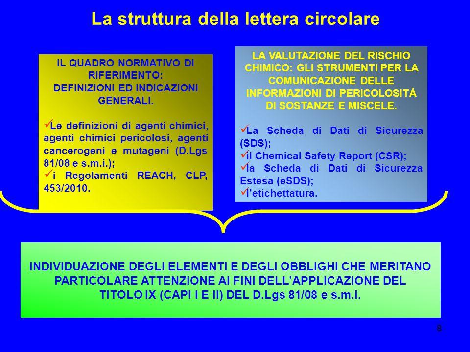 8 La struttura della lettera circolare IL QUADRO NORMATIVO DI RIFERIMENTO: DEFINIZIONI ED INDICAZIONI GENERALI. Le definizioni di agenti chimici, agen