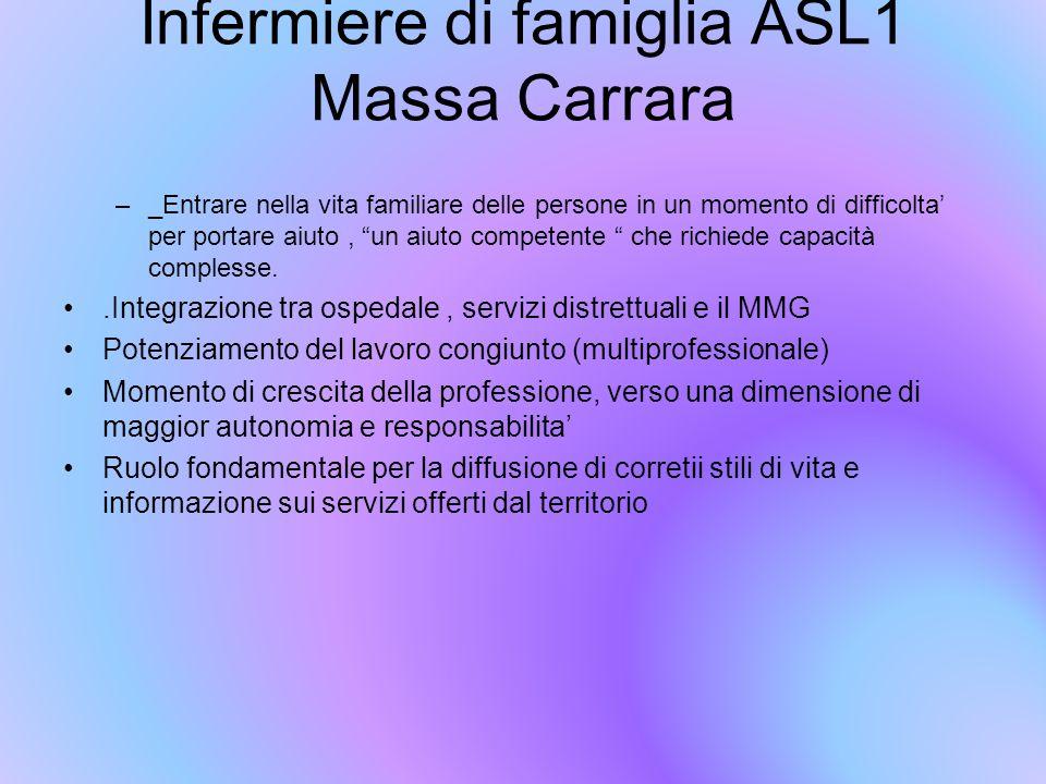 """Infermiere di famiglia ASL1 Massa Carrara –_Entrare nella vita familiare delle persone in un momento di difficolta' per portare aiuto, """"un aiuto compe"""