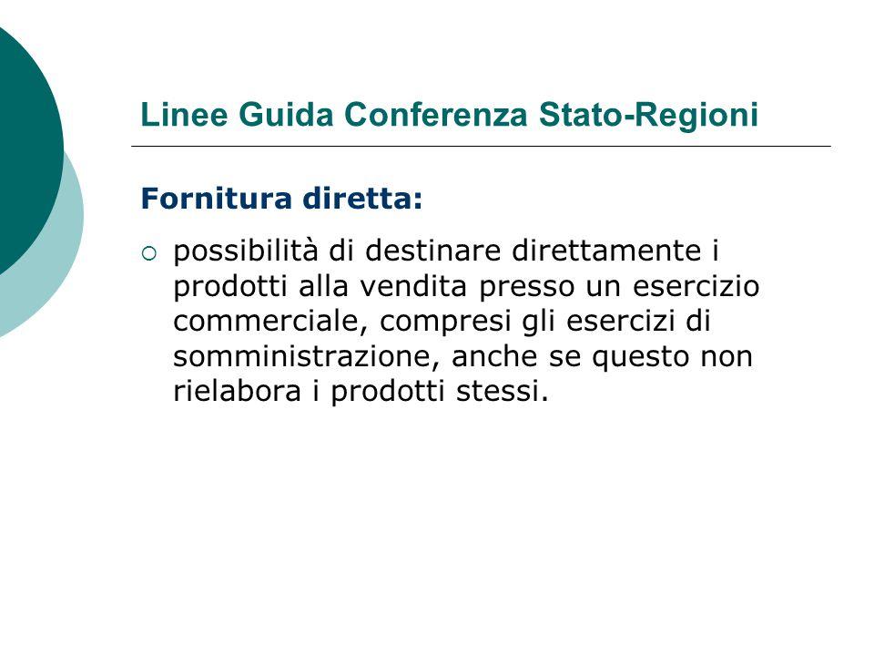 Linee Guida Conferenza Stato-Regioni Fornitura diretta:  possibilità di destinare direttamente i prodotti alla vendita presso un esercizio commercial