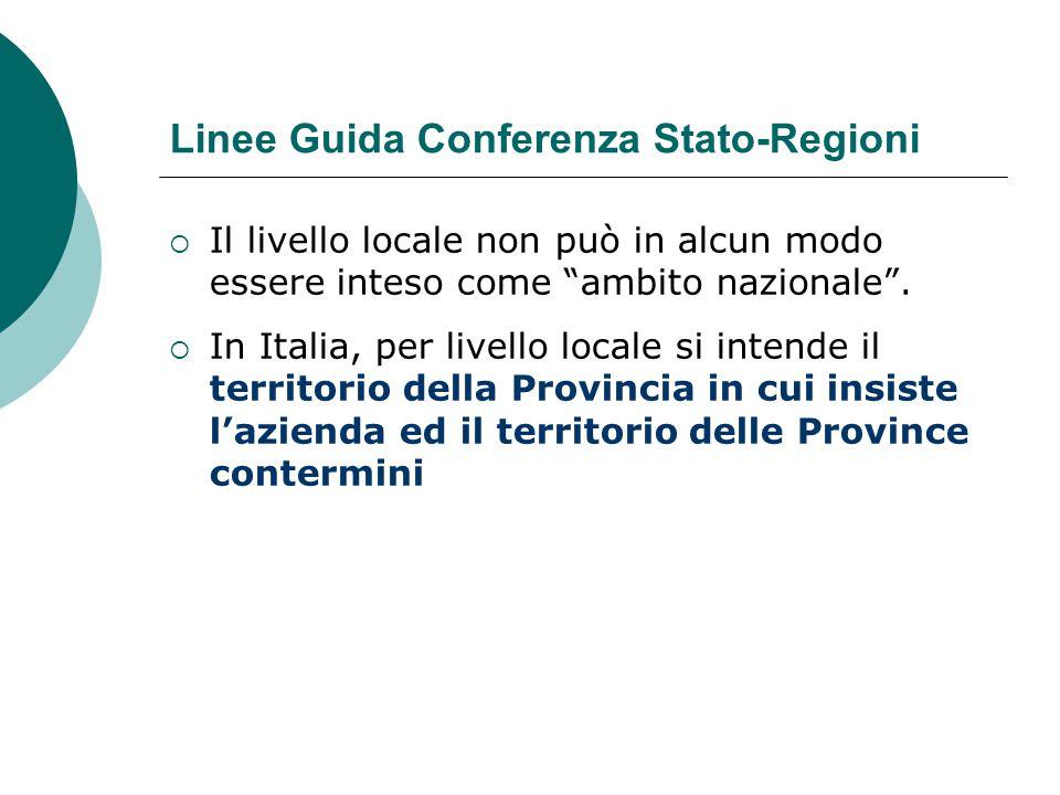 """Linee Guida Conferenza Stato-Regioni  Il livello locale non può in alcun modo essere inteso come """"ambito nazionale"""".  In Italia, per livello locale"""