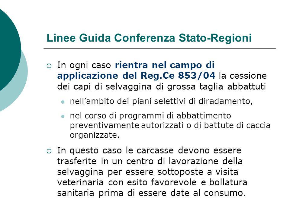 Linee Guida Conferenza Stato-Regioni  In ogni caso rientra nel campo di applicazione del Reg.Ce 853/04 la cessione dei capi di selvaggina di grossa t