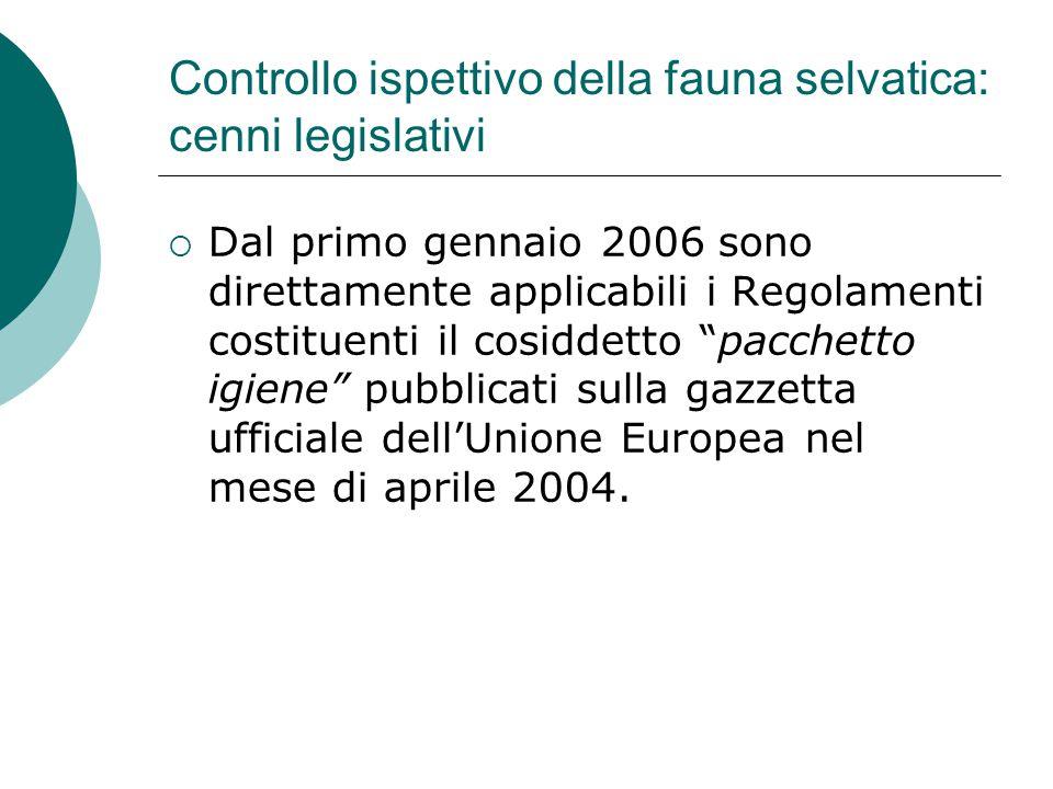 Controllo ispettivo della fauna selvatica: cenni legislativi  Dal primo gennaio 2006 sono direttamente applicabili i Regolamenti costituenti il cosid