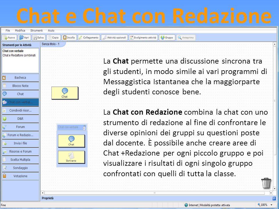 Chat e Chat con Redazione La Chat permette una discussione sincrona tra gli studenti, in modo simile ai vari programmi di Messaggistica Istantanea che