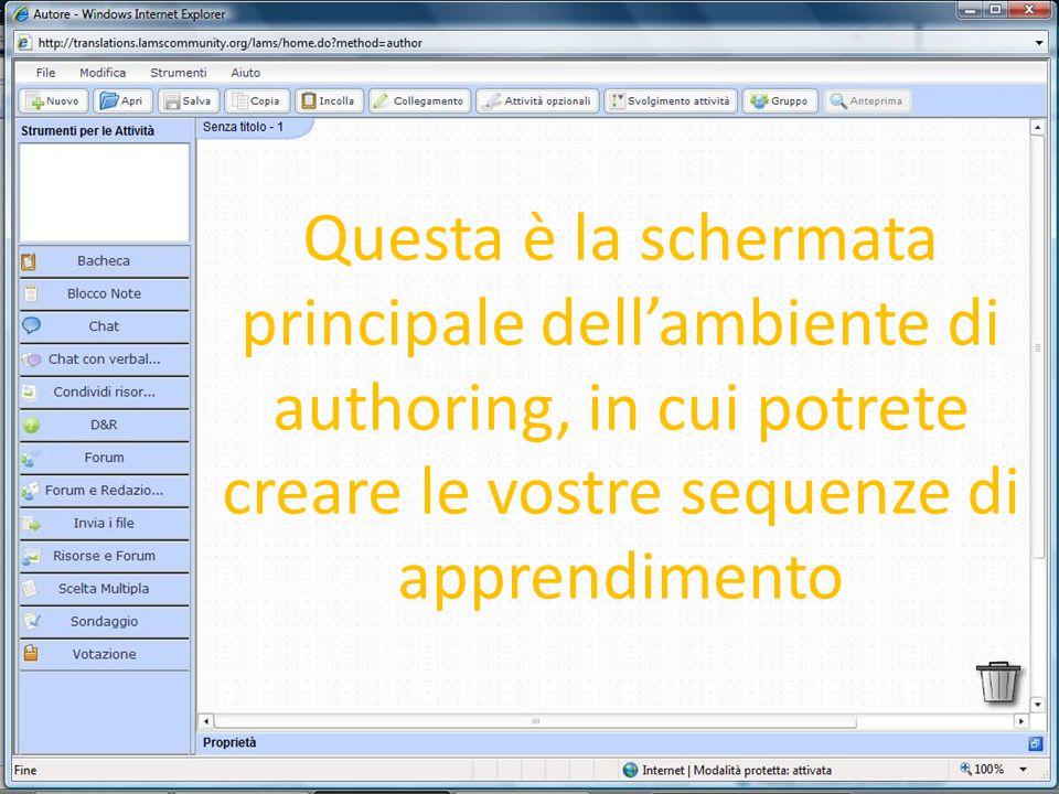 Questa è la schermata principale dell'ambiente di authoring, in cui potrete creare le vostre sequenze di apprendimento