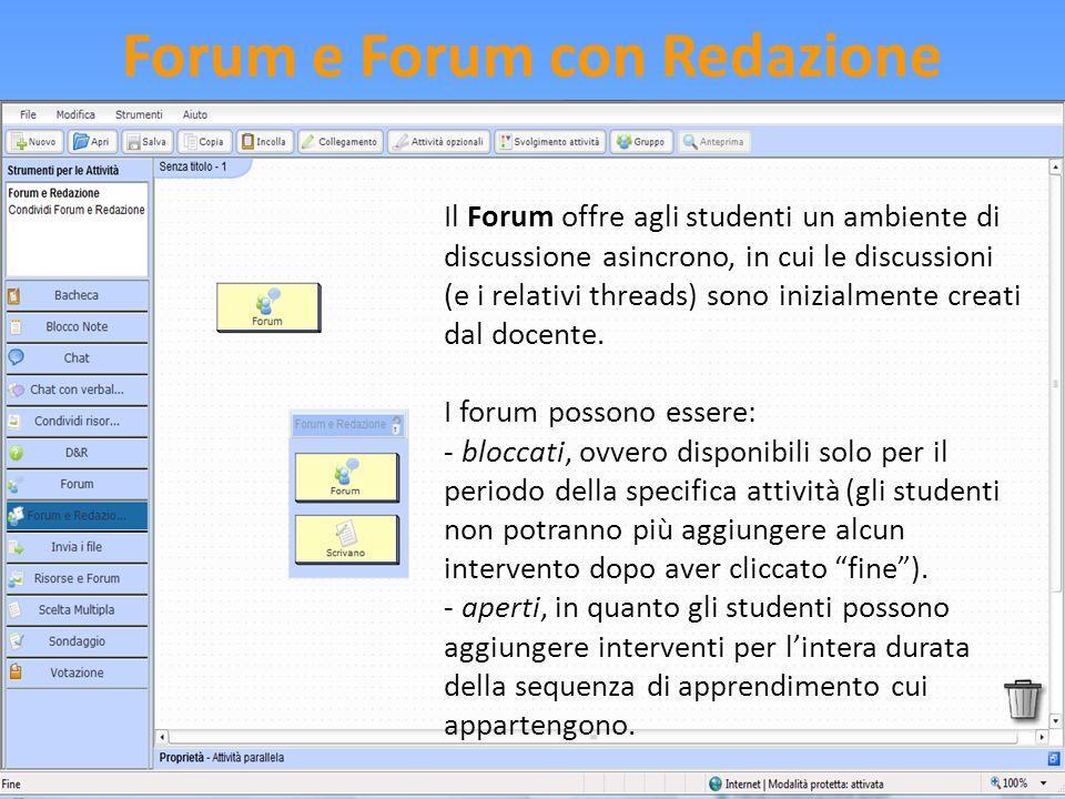 Forum e Forum con Redazione Il Forum offre agli studenti un ambiente di discussione asincrono, in cui le discussioni (e i relativi threads) sono inizi