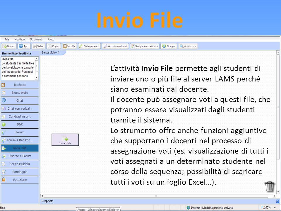 Invio File L'attività Invio File permette agli studenti di inviare uno o più file al server LAMS perché siano esaminati dal docente. Il docente può as