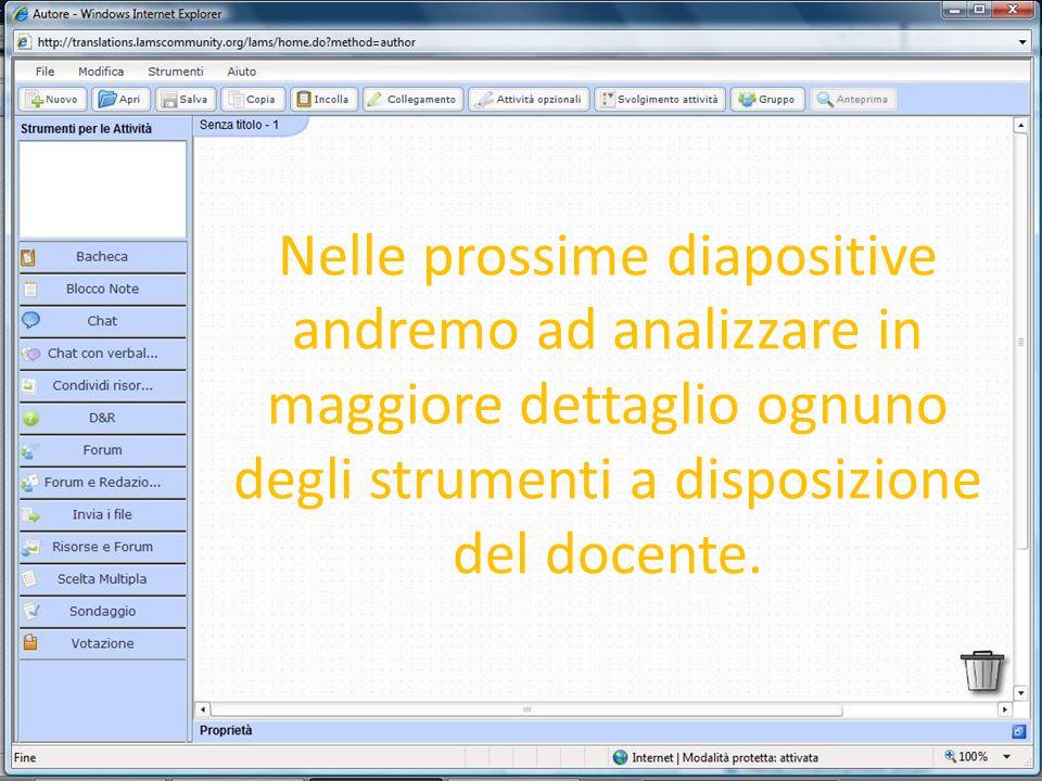 Nelle prossime diapositive andremo ad analizzare in maggiore dettaglio ognuno degli strumenti a disposizione del docente.