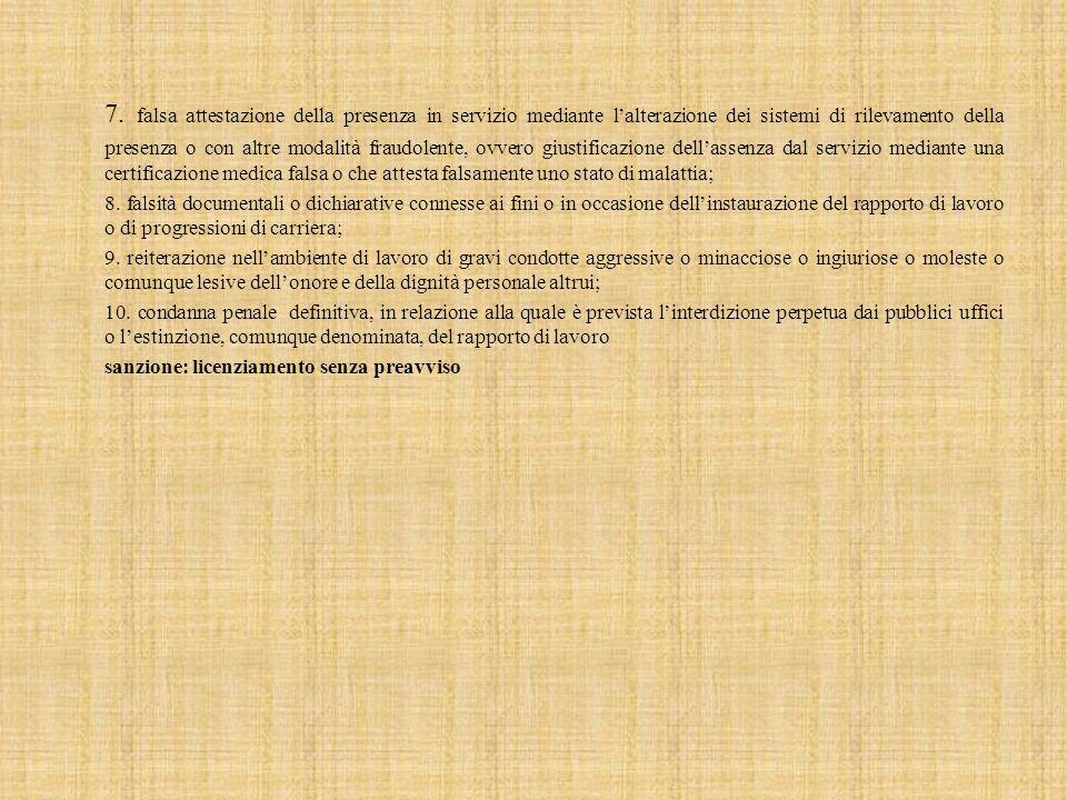 7. falsa attestazione della presenza in servizio mediante l'alterazione dei sistemi di rilevamento della presenza o con altre modalità fraudolente, ov
