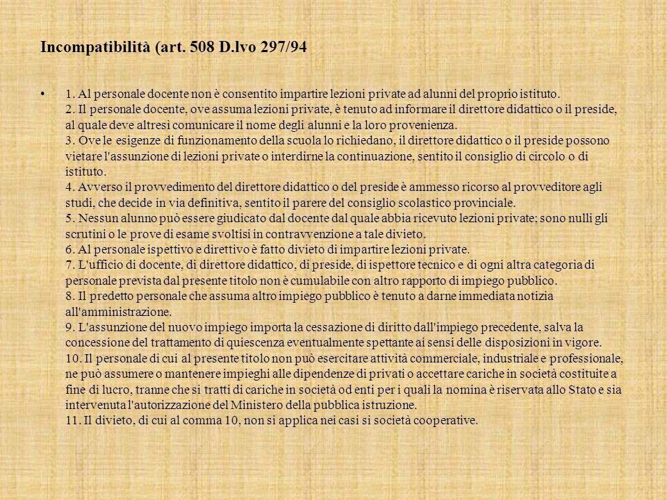 Incompatibilità (art.508 D.lvo 297/94 1.