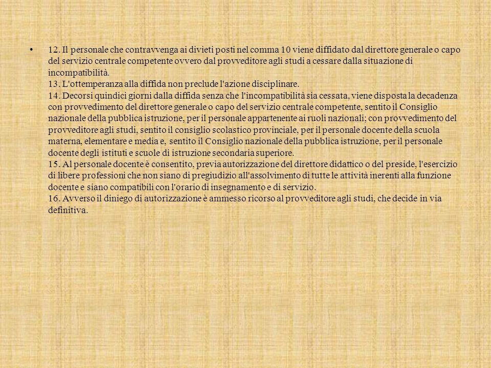 12. Il personale che contravvenga ai divieti posti nel comma 10 viene diffidato dal direttore generale o capo del servizio centrale competente ovvero