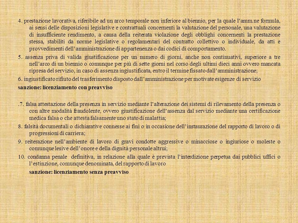 4. prestazione lavorativa, riferibile ad un arco temporale non inferiore al biennio, per la quale l'amm.ne formula, ai sensi delle disposizioni legisl