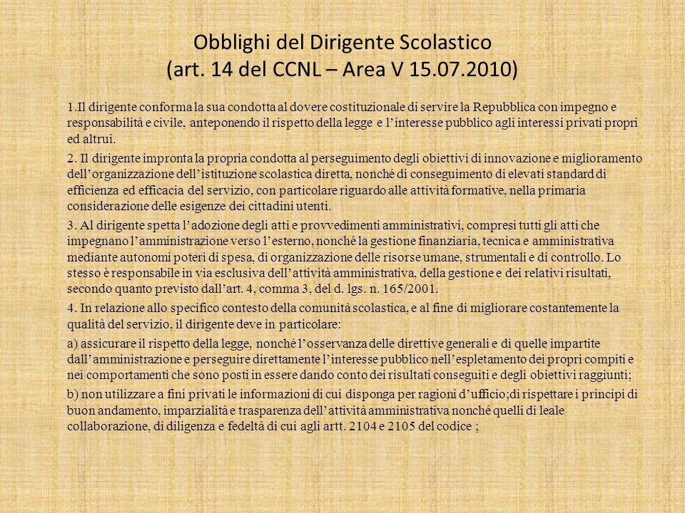 Obblighi del Dirigente Scolastico (art.