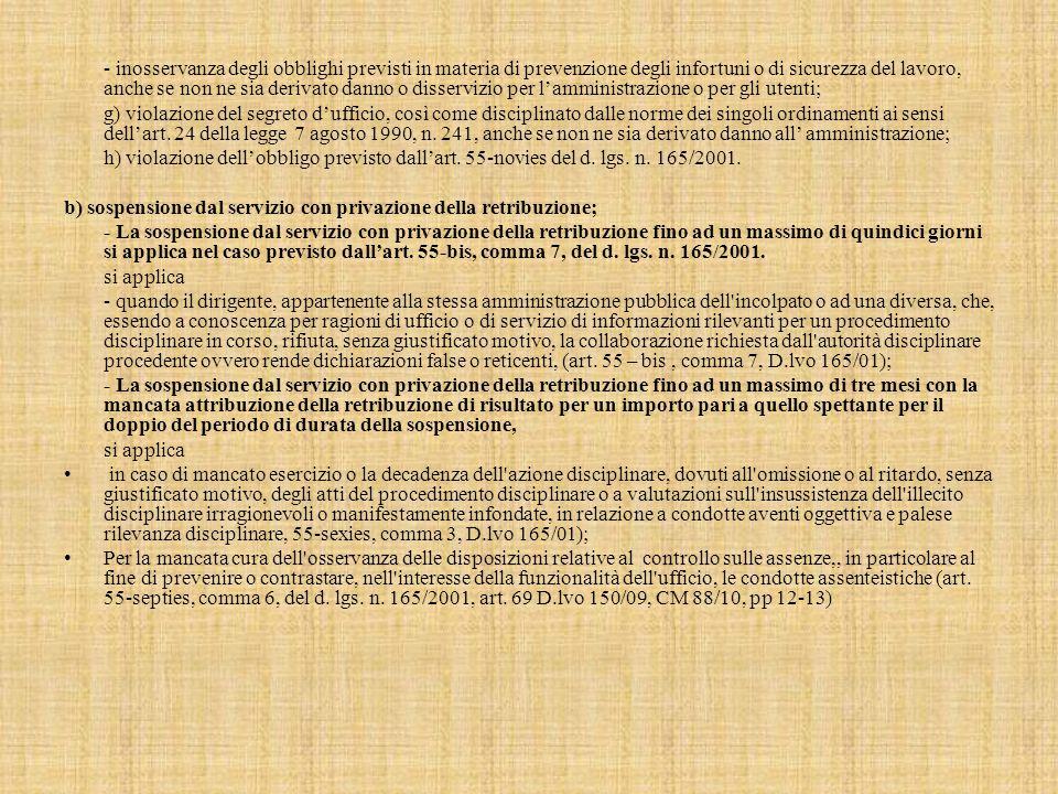 - inosservanza degli obblighi previsti in materia di prevenzione degli infortuni o di sicurezza del lavoro, anche se non ne sia derivato danno o disservizio per l'amministrazione o per gli utenti; g) violazione del segreto d'ufficio, così come disciplinato dalle norme dei singoli ordinamenti ai sensi dell'art.