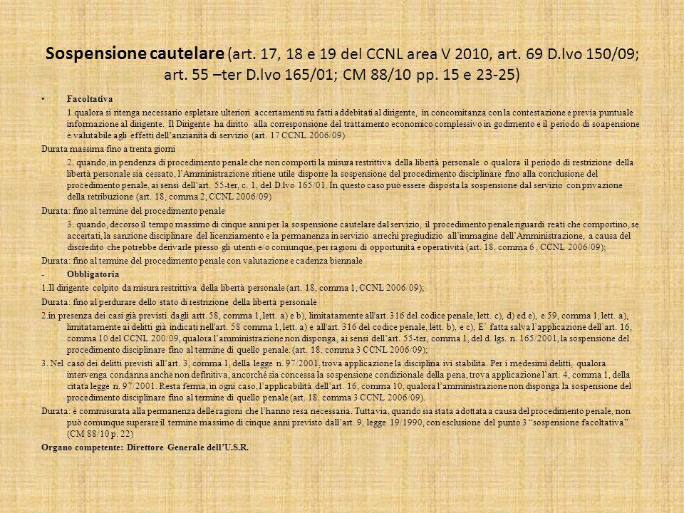 Sospensione cautelare (art.17, 18 e 19 del CCNL area V 2010, art.