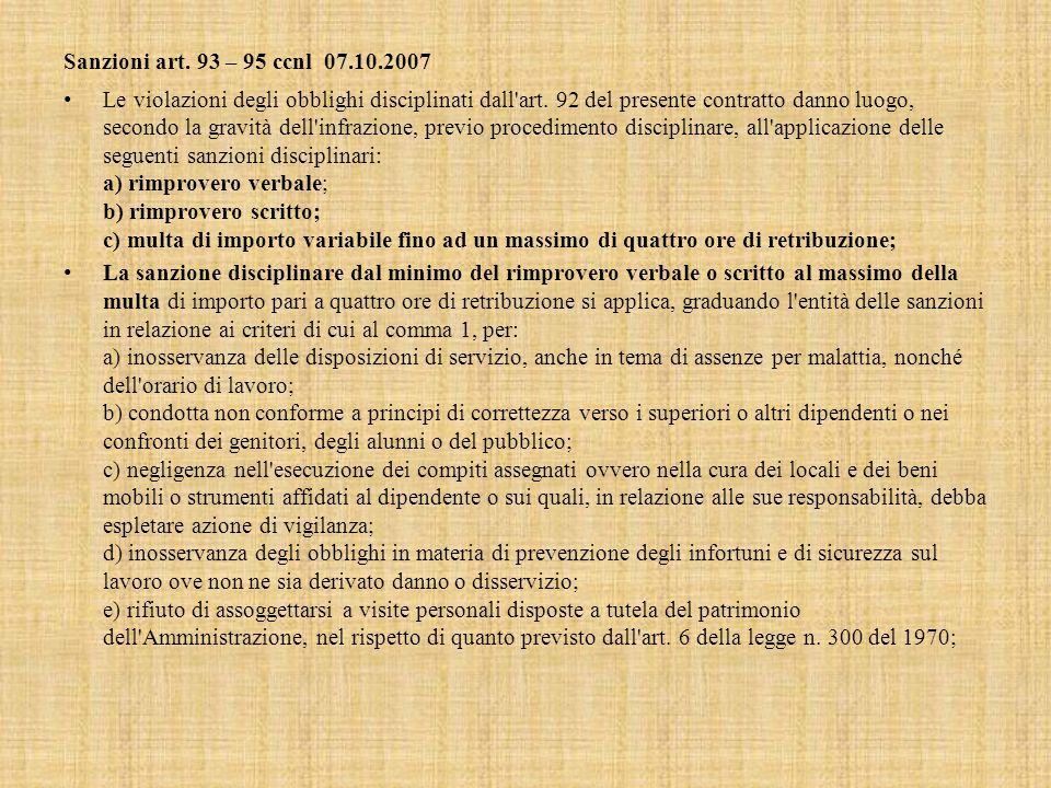 Sanzioni art.93 – 95 ccnl 07.10.2007 Le violazioni degli obblighi disciplinati dall art.