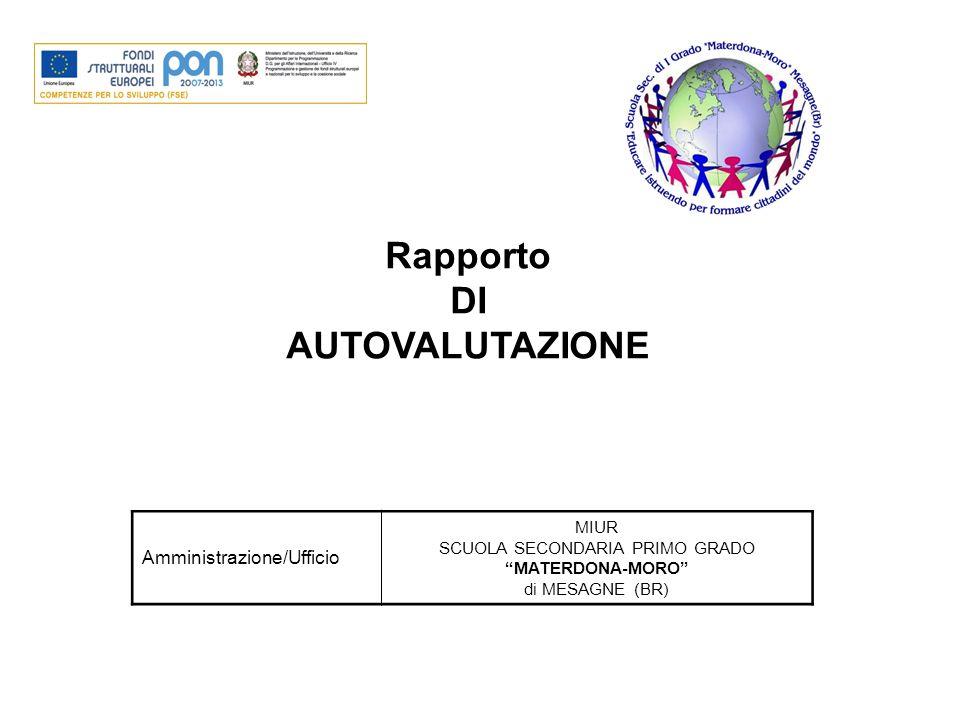 """Rapporto DI AUTOVALUTAZIONE Amministrazione/Ufficio MIUR SCUOLA SECONDARIA PRIMO GRADO """"MATERDONA-MORO"""" di MESAGNE (BR)"""