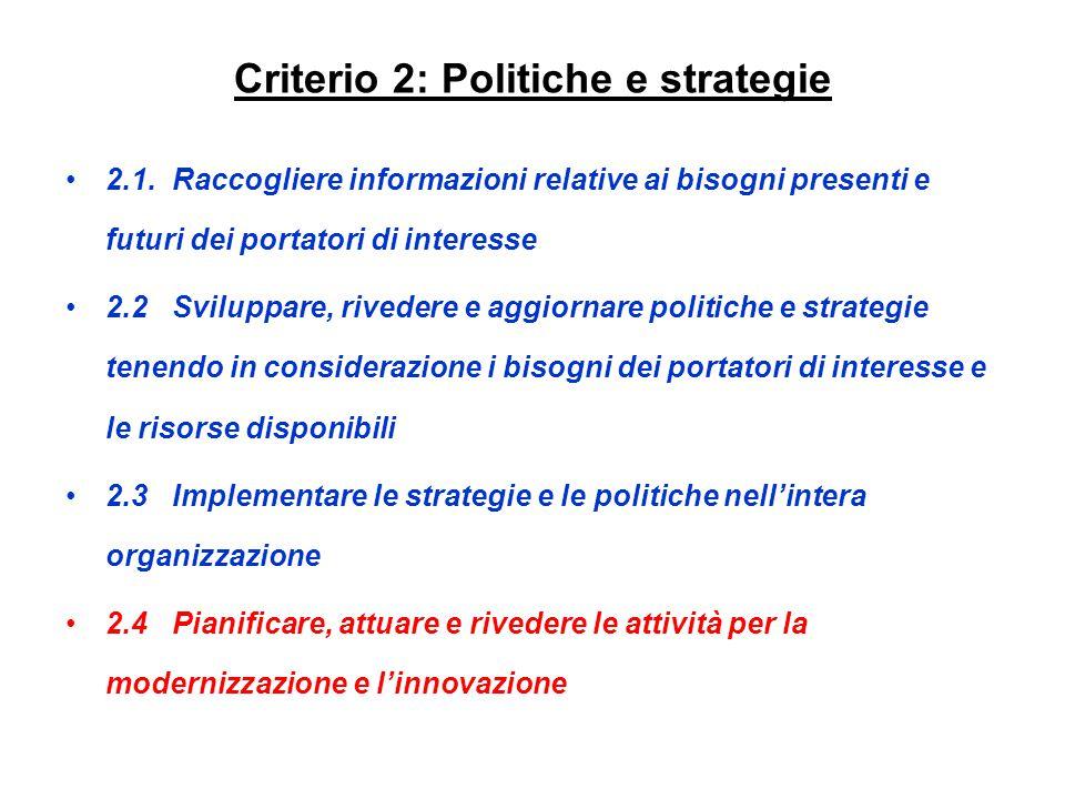 Criterio 2: Politiche e strategie 2.1.Raccogliere informazioni relative ai bisogni presenti e futuri dei portatori di interesse 2.2Sviluppare, riveder