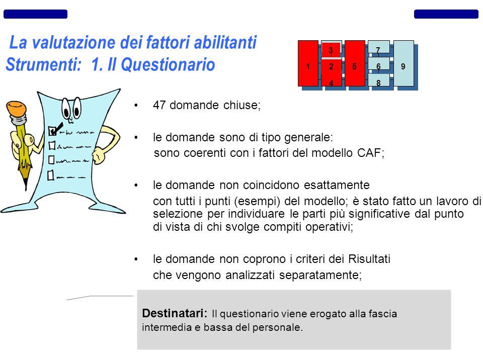 La valutazione dei fattori abilitanti Strumenti: 1. Il Questionario 47 domande chiuse; le domande sono di tipo generale: sono coerenti con i fattori d