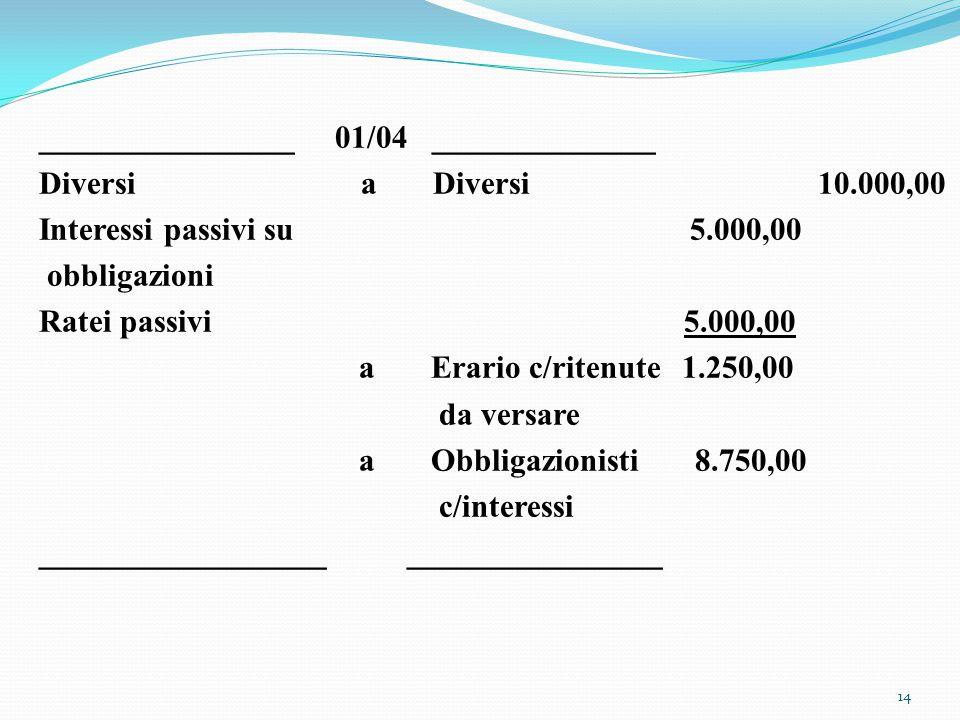 ________________ 01/04 ______________ Diversi a Diversi 10.000,00 Interessi passivi su 5.000,00 obbligazioni Ratei passivi 5.000,00 a Erario c/ritenut