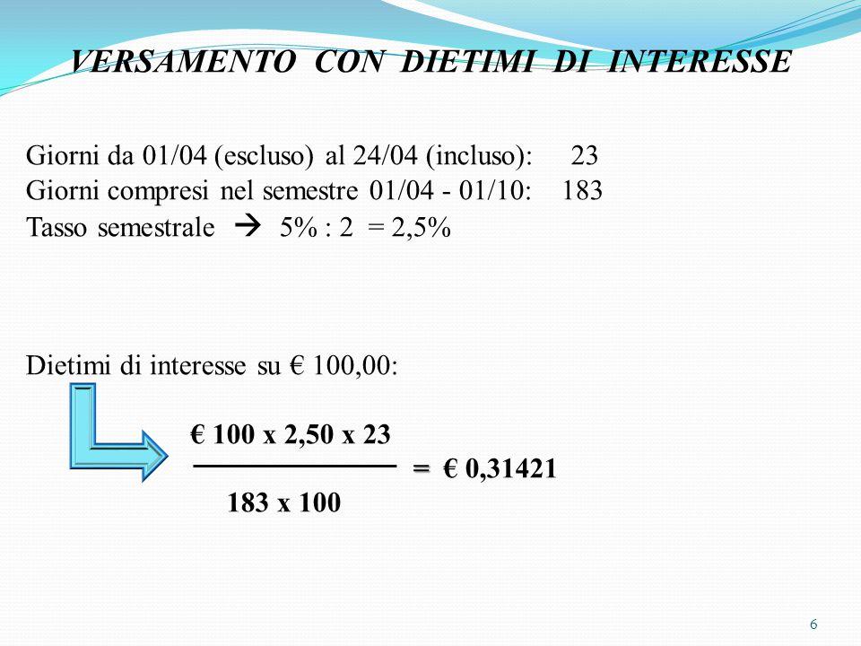 Dietimi di interesse complessivi € 400.000,00 x € 0,31421 = € 1.256,84 100 Ritenuta fiscale: € 1.256,84 x 12,50% = € 157,11 _______________ 24/04 _________________ Diversi a Diversi 386.256,84 Erario c/ritenute 157,11 da versare BNL c/c 386.099,73 a Obbligazionisti 385.000,00 c/sottoscrizione a Interessi passivi 1.256,84 su obbligazioni _______________ _________________ 7