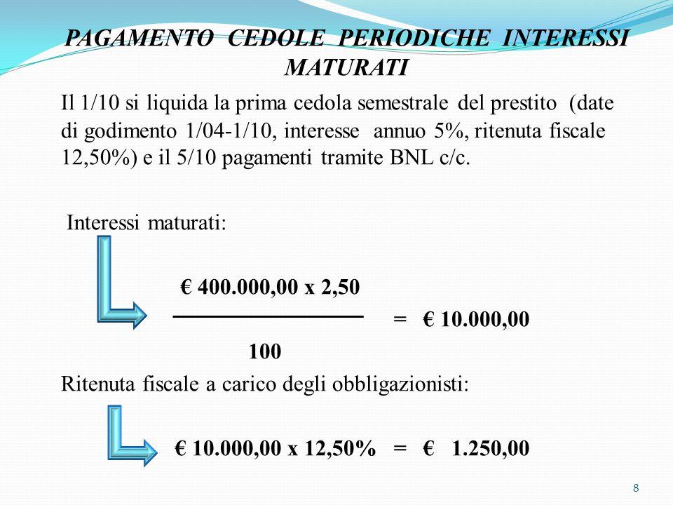 ________________ 01/10 ______________ Interessi passivi su a Diversi 10.000,00 obbligazioni a Erario c/ritenute 1.250,00 da versare a Obbligazionisti 8.750,00 c/interessi ________________ ______________ ________________ 05 /10 _____________ Obbligazionisti a BNL c/c 8.750,00 c/interessi ________________ _____________ 9