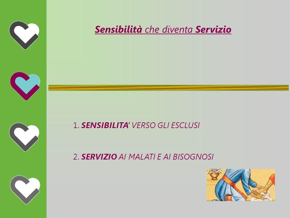 Sensibilità che diventa Servizio 1. SENSIBILITA' VERSO GLI ESCLUSI 2.