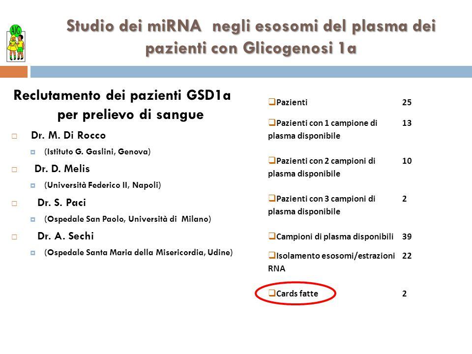 Reclutamento dei pazienti GSD1a per prelievo di sangue  Dr. M. Di Rocco  (Istituto G. Gaslini, Genova)  Dr. D. Melis  (Università Federico II, Nap