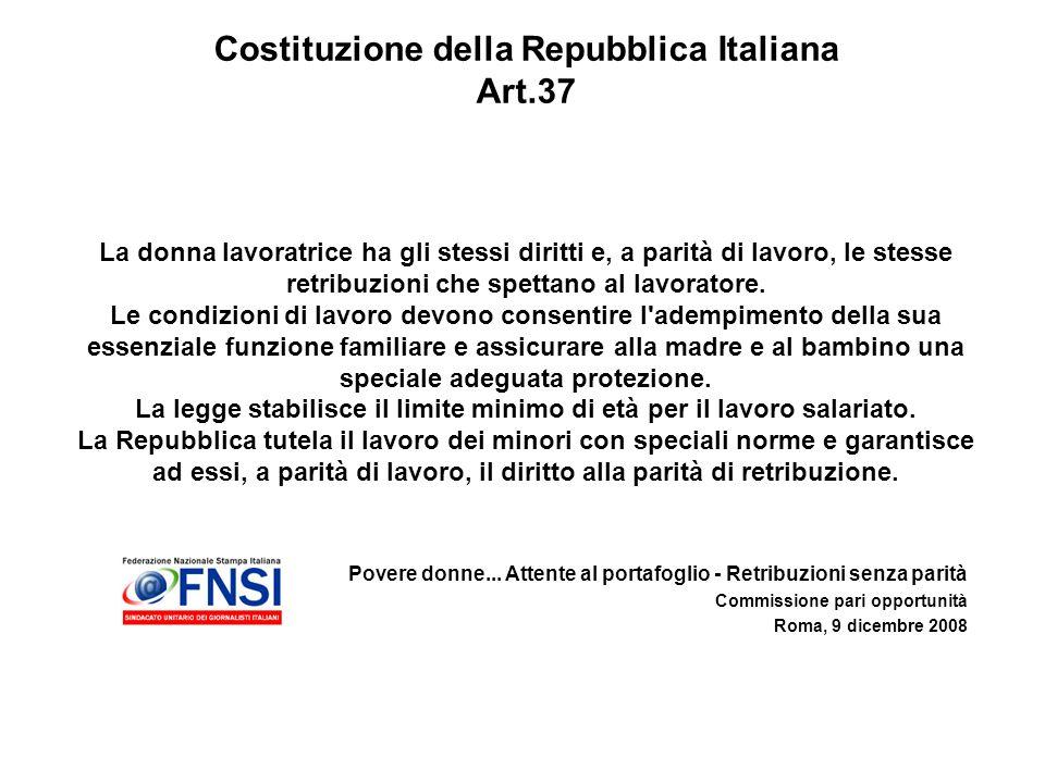 Povere donne... Attente al portafoglio - Retribuzioni senza parità Commissione pari opportunità Roma, 9 dicembre 2008 Costituzione della Repubblica It