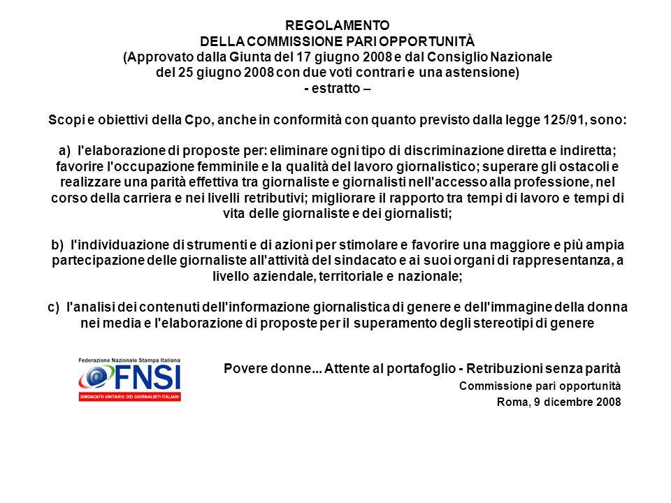 Povere donne... Attente al portafoglio - Retribuzioni senza parità Commissione pari opportunità Roma, 9 dicembre 2008 REGOLAMENTO DELLA COMMISSIONE PA