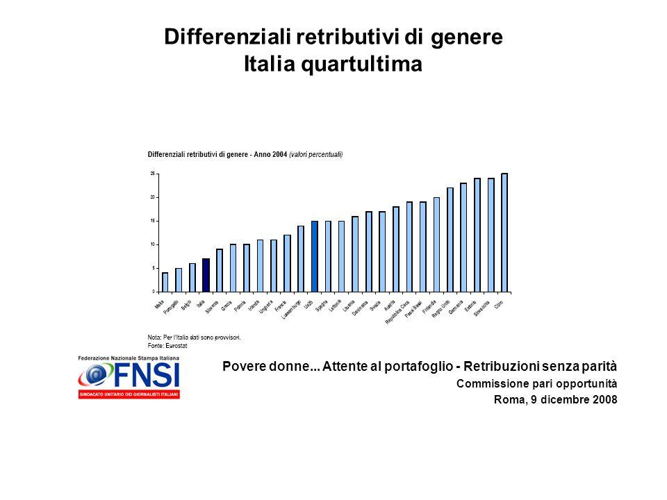 Povere donne... Attente al portafoglio - Retribuzioni senza parità Commissione pari opportunità Roma, 9 dicembre 2008 Differenziali retributivi di gen