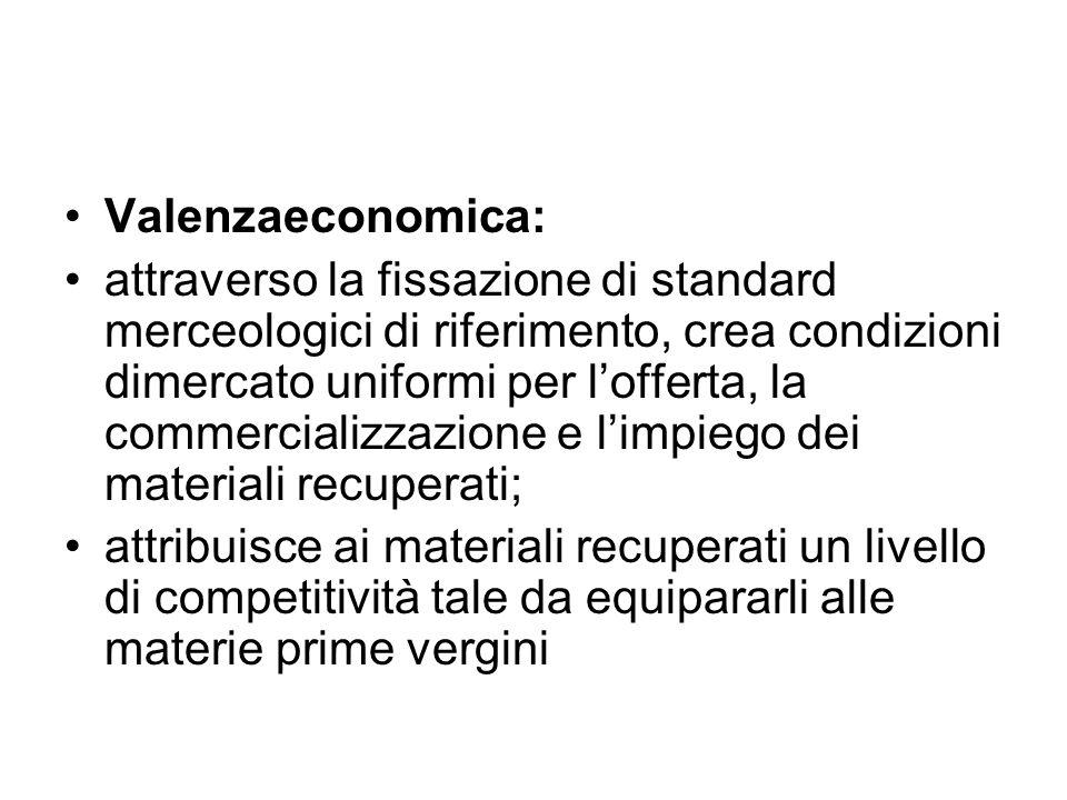 Valenzaeconomica: attraverso la fissazione di standard merceologici di riferimento, crea condizioni dimercato uniformi per l'offerta, la commercializz