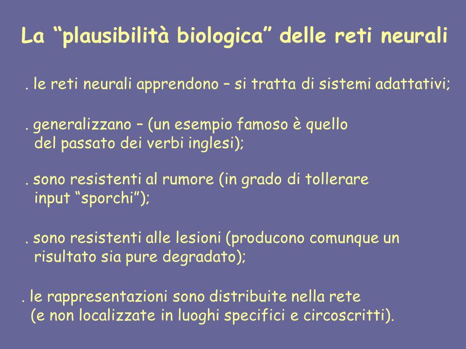 La plausibilità biologica delle reti neurali.