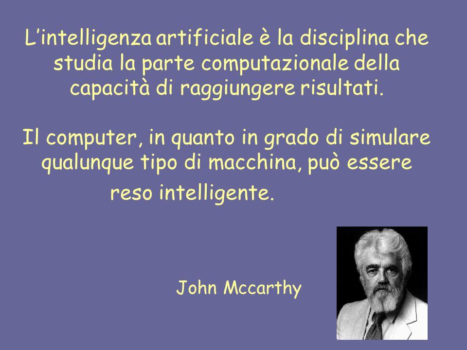 L'intelligenza artificiale è la disciplina che studia la parte computazionale della capacità di raggiungere risultati.