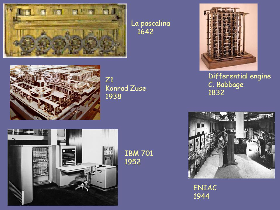 La pascalina 1642 Differential engine C. Babbage 1832 Z1 Konrad Zuse 1938 ENIAC 1944 IBM 701 1952